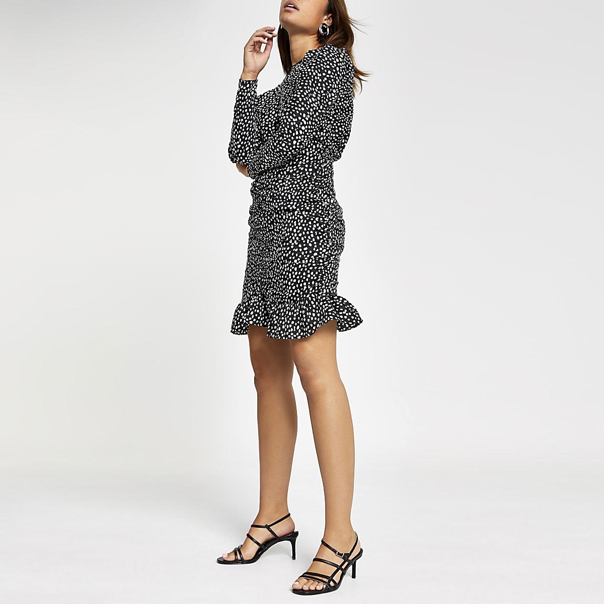 Zwarte mini-jurk met rimpeling en stippen