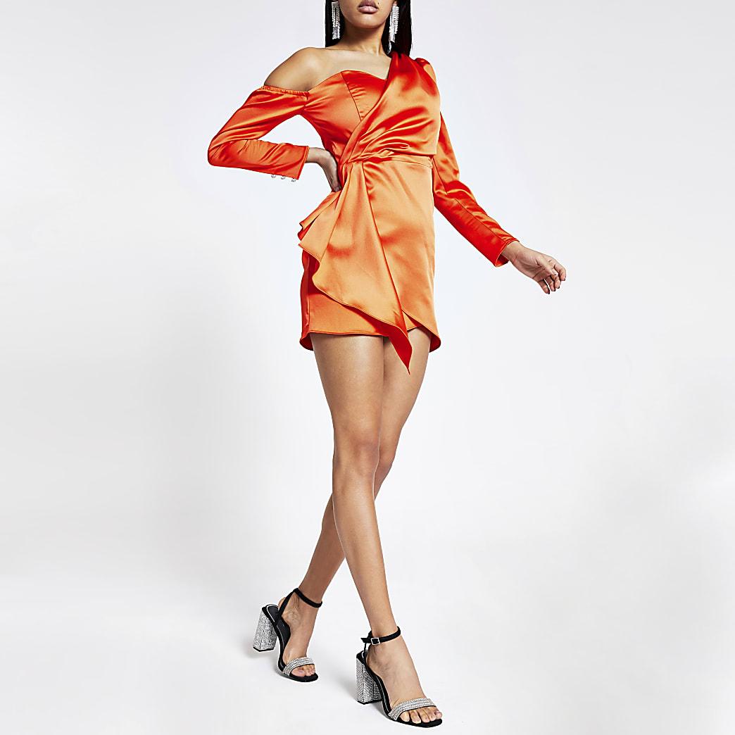 Oranje mini-jurk met overslag en lange mouwen
