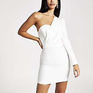 Mini robe moulante blanche asymétrique