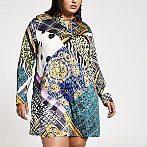 Plus – Schwarzes, bedrucktes Blusenkleid