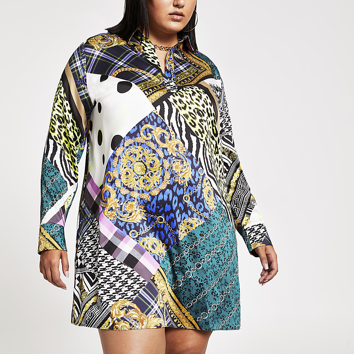 Plus black baroque print shirt dress