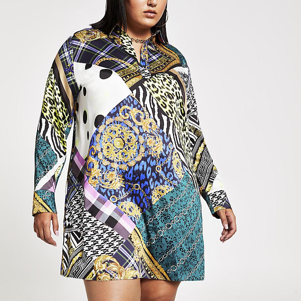 Plus black baroque print shirt dress