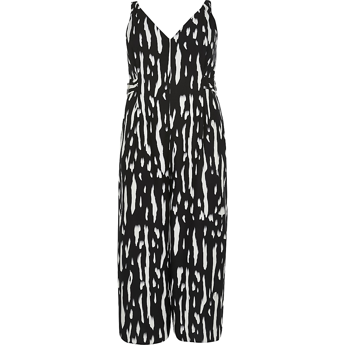 Plus black print V neck playsuit