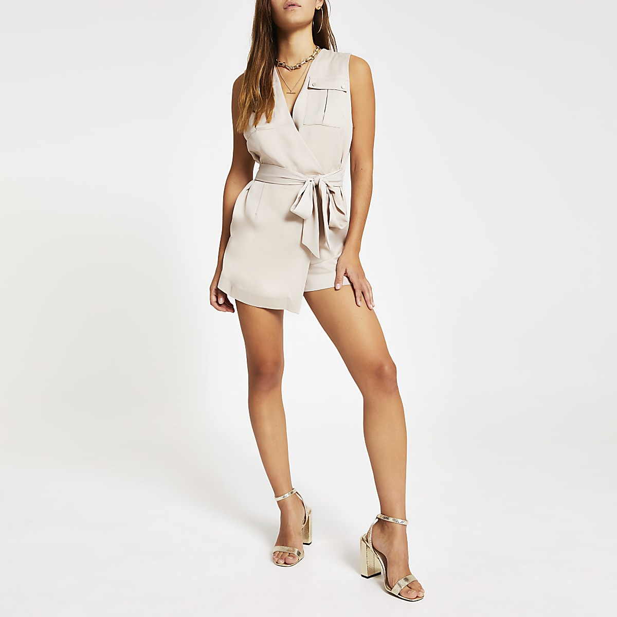 Petite light beige tie waist playsuit