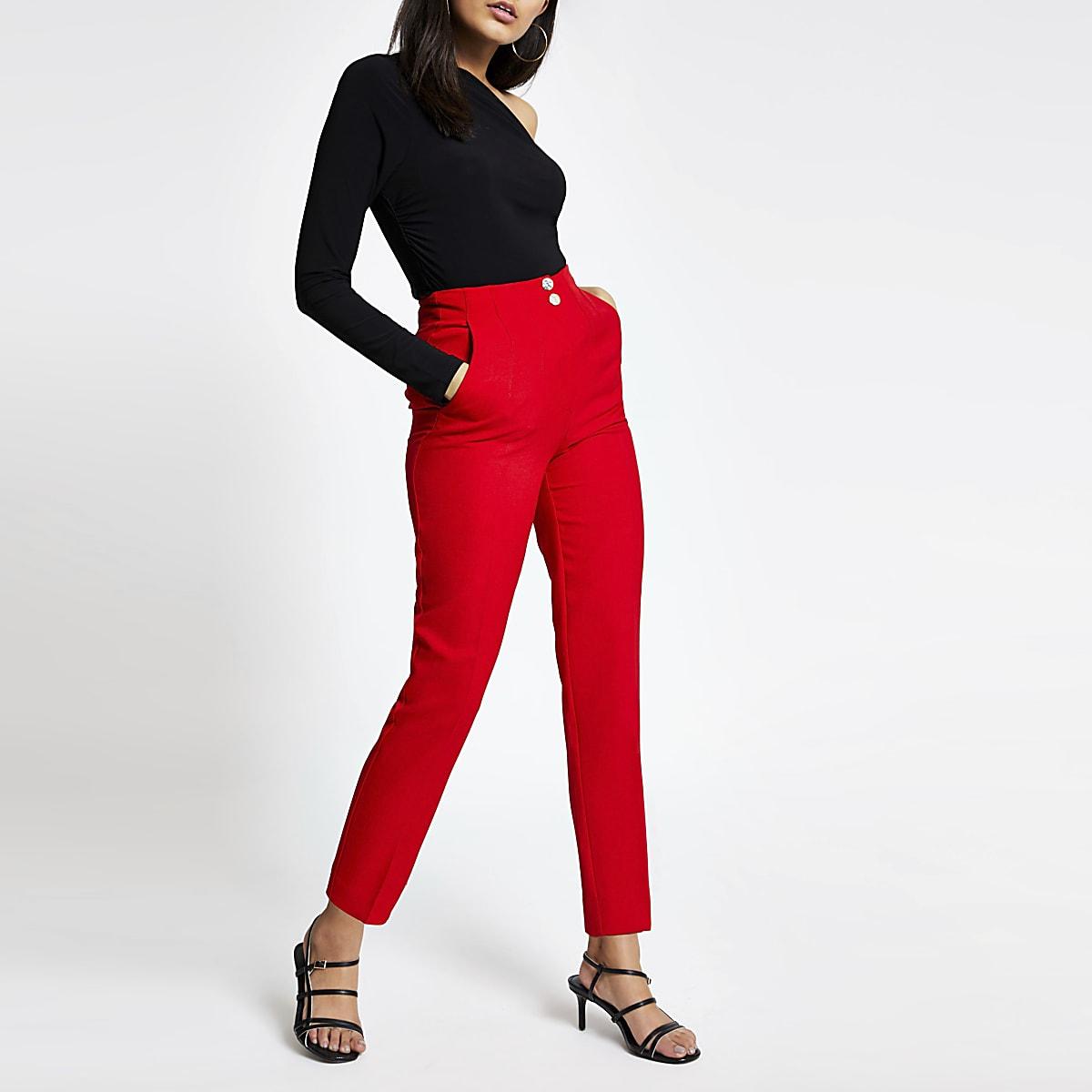 Rode broek met hoge taille en smalle pijpen tot de enkel