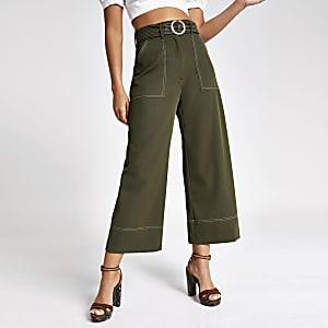 Jupe-culotte kaki à ceinture