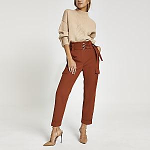 Pantalon carotte utilitaire rouille à ceinture