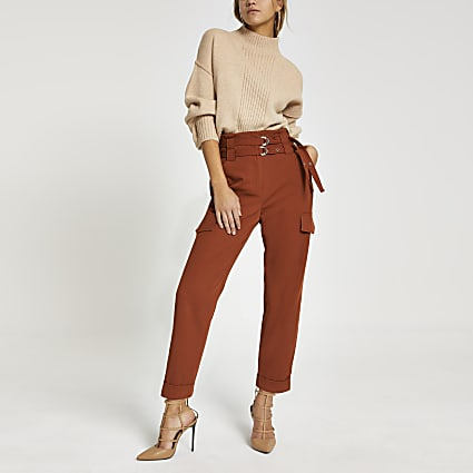 Rust belted utility peg trousers