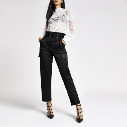 Black belted utility peg trousers