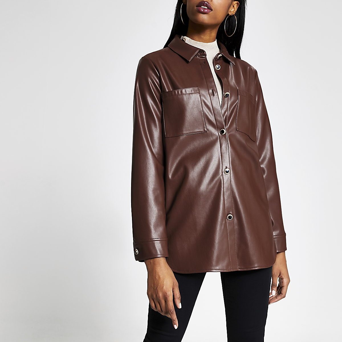 Brown faux leather shirt