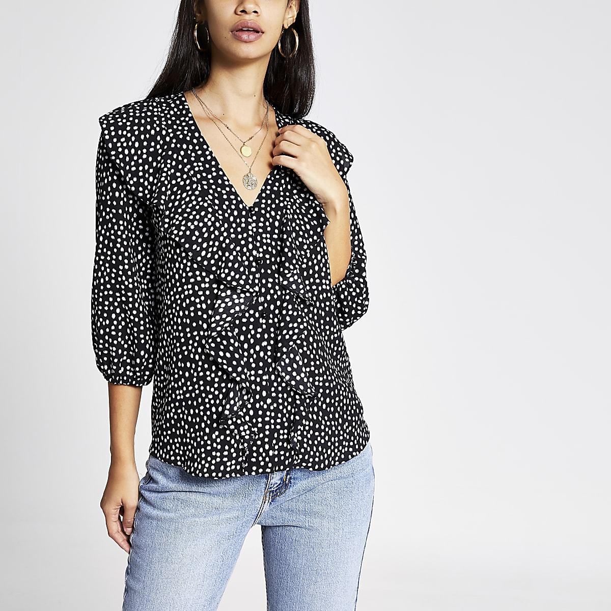 Zwarte ruche blouse met zwarte stippen print