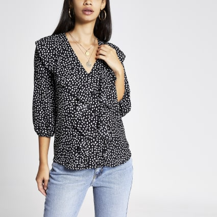 Black polka dot frill front blouse
