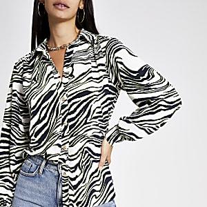 Utility Hemd in Creme mit Zebra-Print