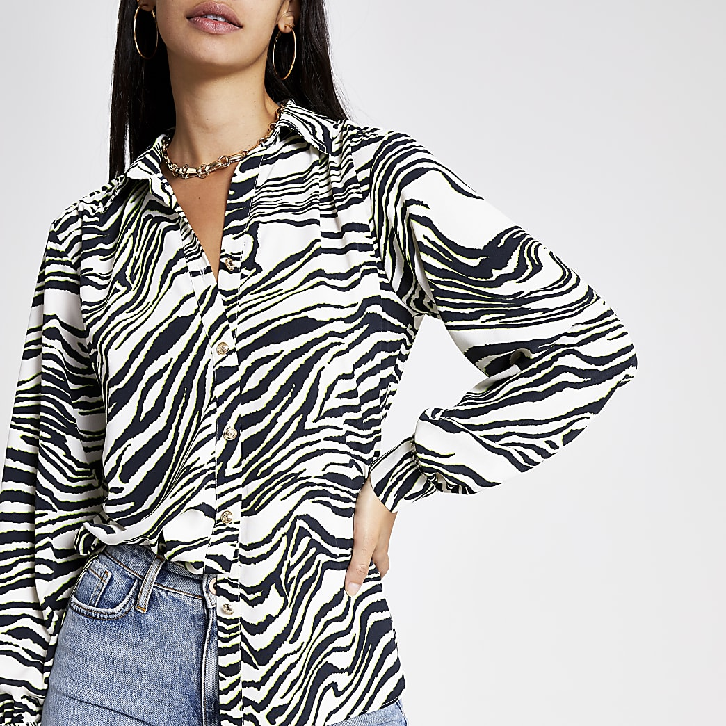 Cream zebra print utility shirt