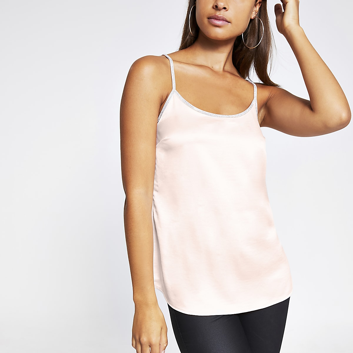 Pink satin diamante trim cami top