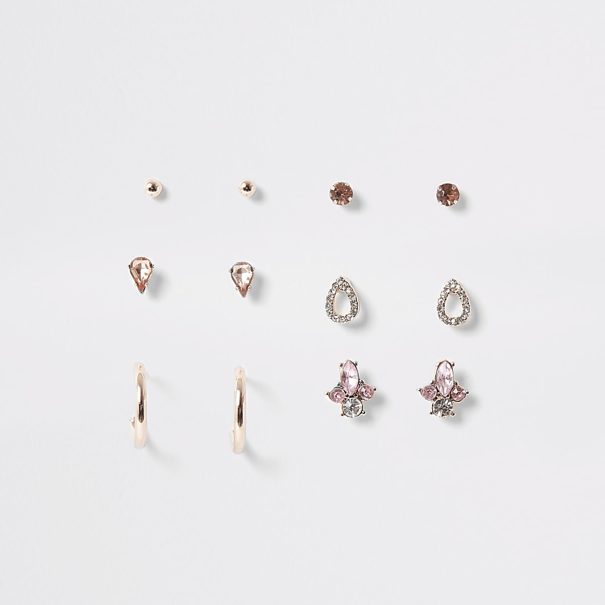 Rose gold colour stud and hoop multipack