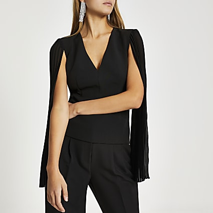 Black long sheer pleated sleeve V neck top