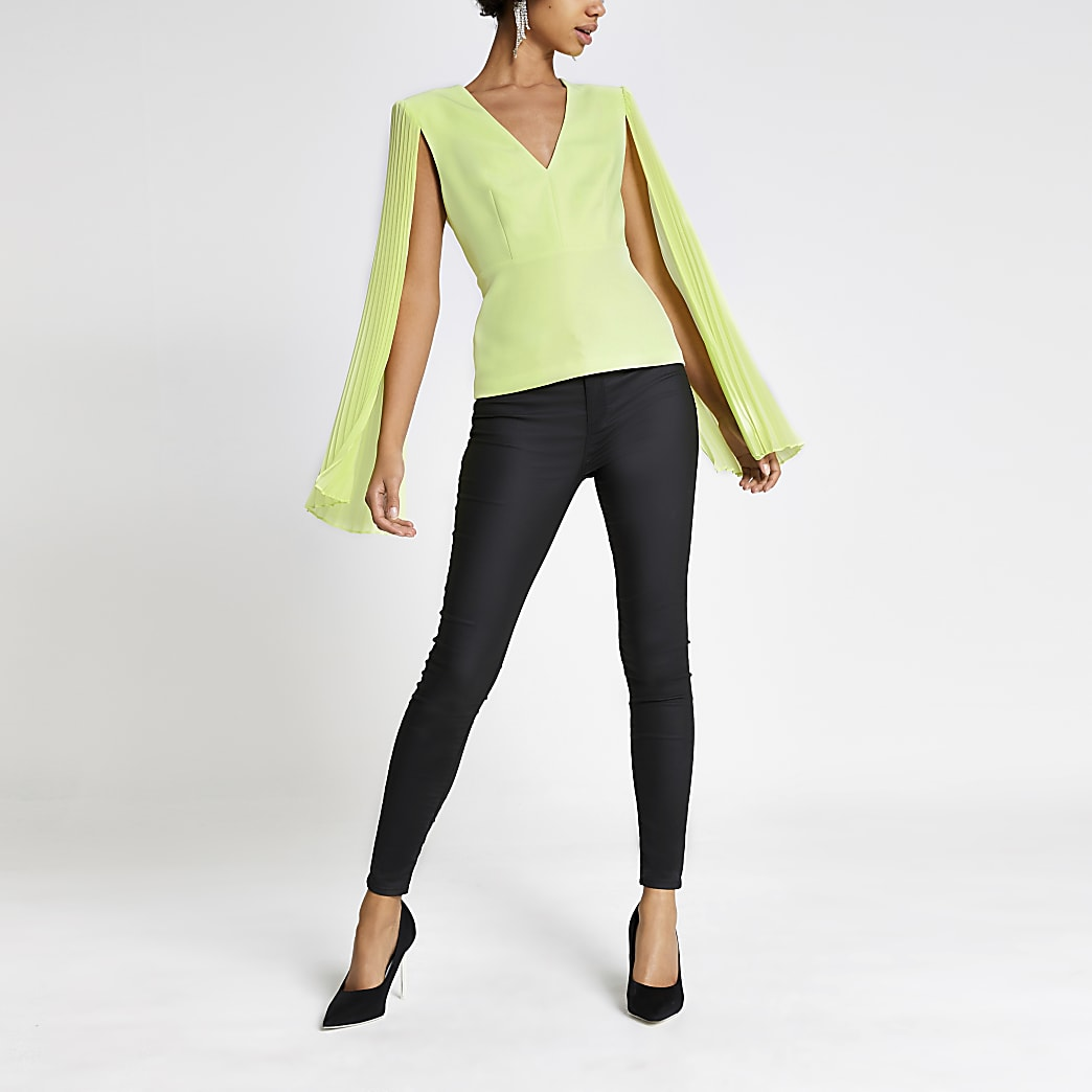 Lime long pleated sheer sleeve top