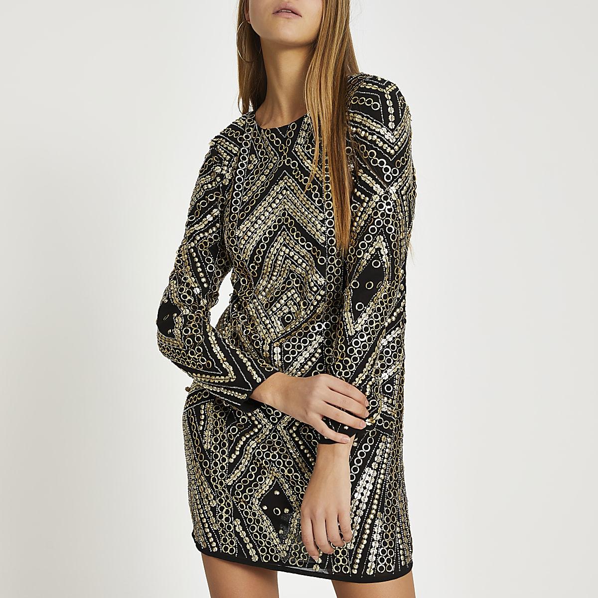 Black embellished long sleeve mini dress