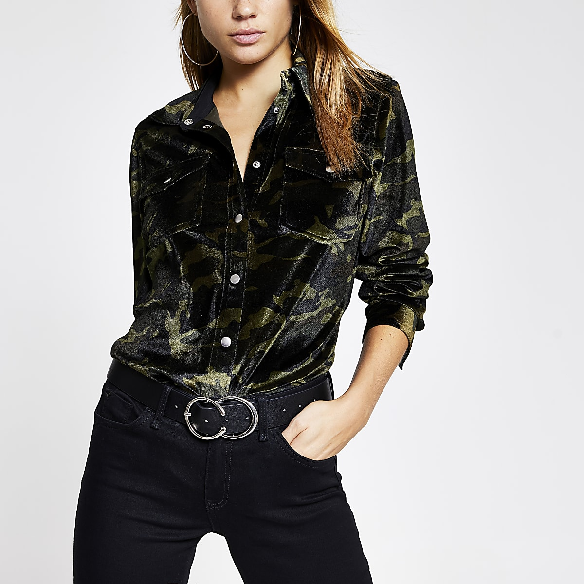 Green velvet camo long sleeve shirt