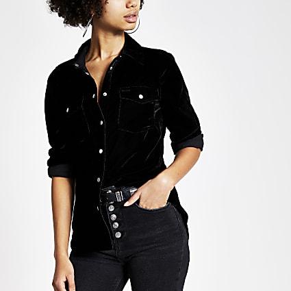 Black velvet long sleeve shirt