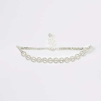Silver colour diamante pave circle choker