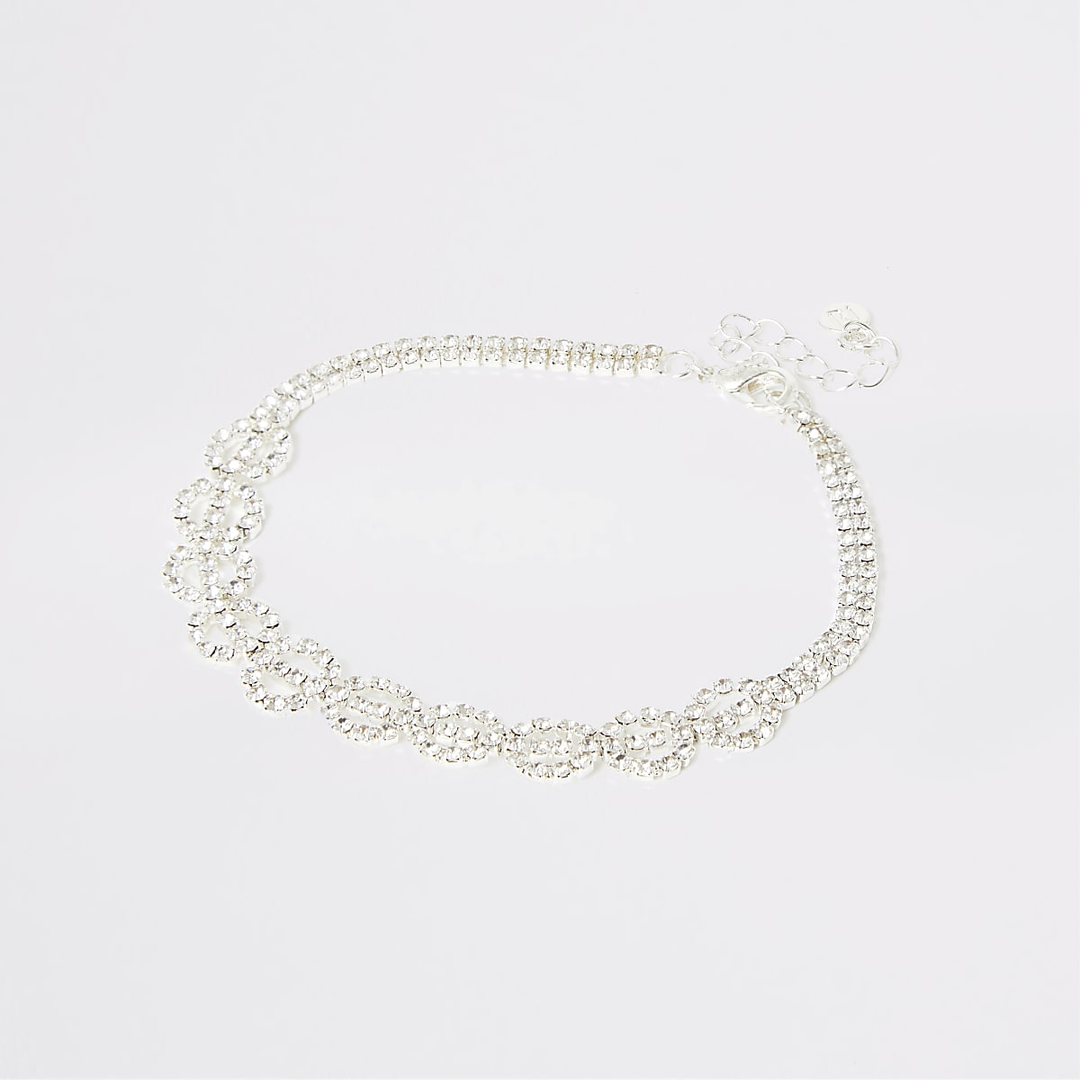 Silver colour diamante circle anklet