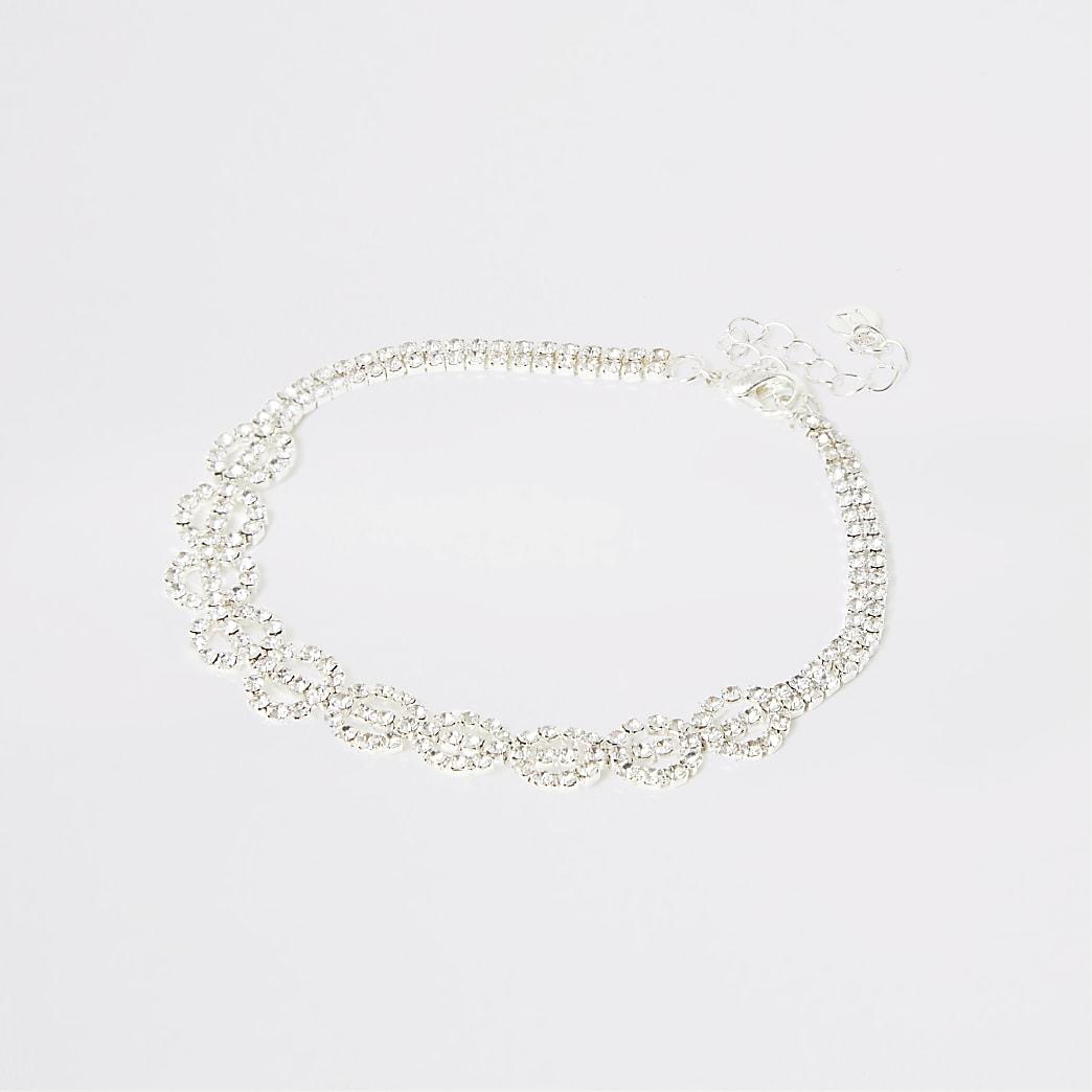 Silver colour diamante circle anklet