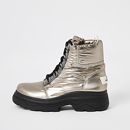 Silver lace-up chunky moon boots