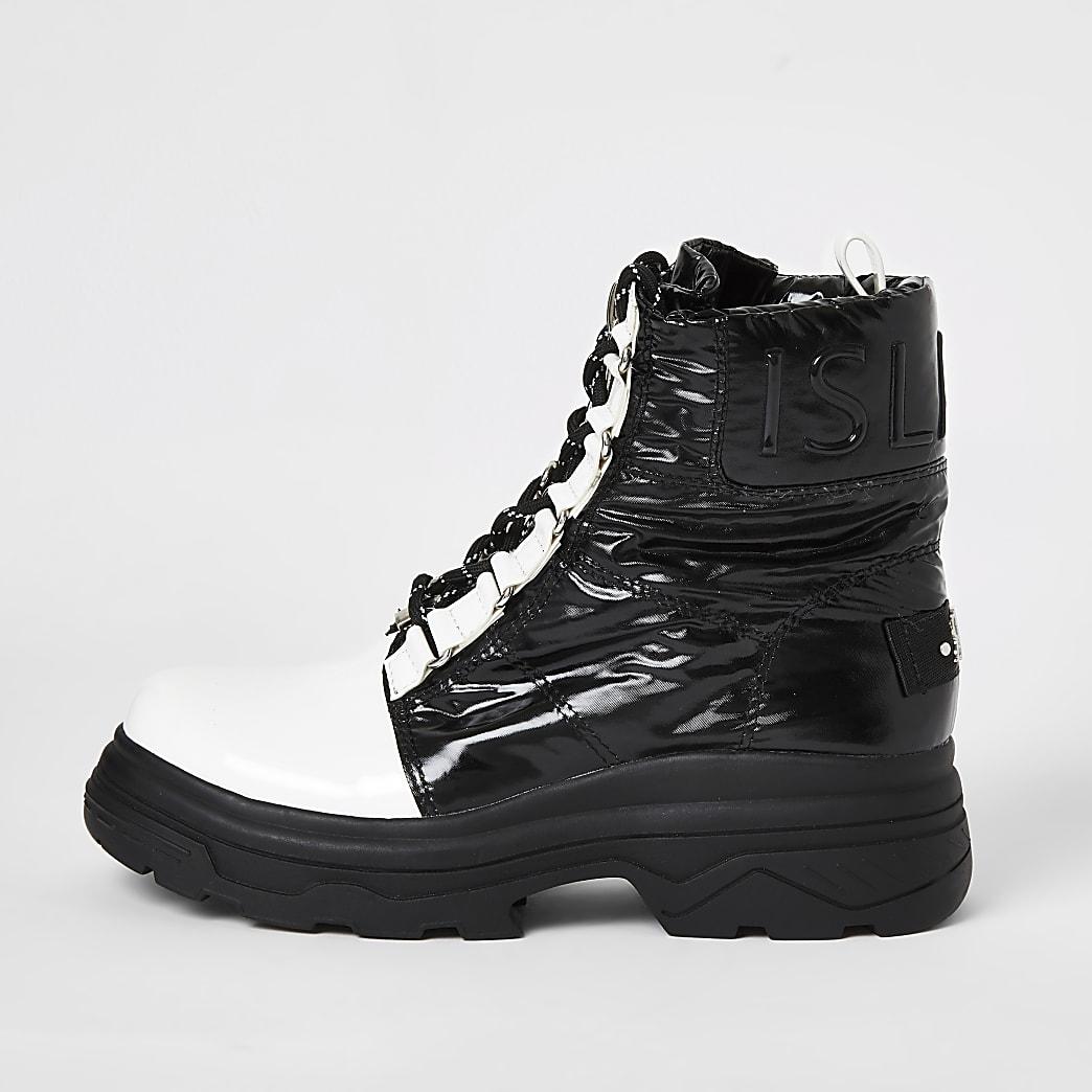 Schwarze, robuste Monochrome-Moon-Boots