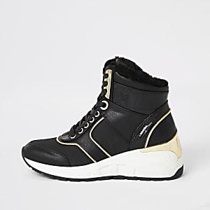 Schwarze High-Top-Sneaker zum Schnüren mit Keilabsatz