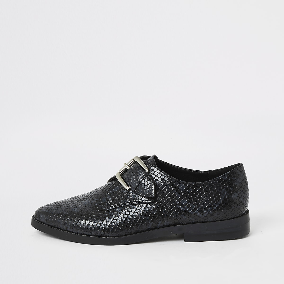 Black embossed monk strap buckle shoe