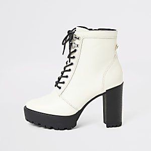 Cream lace-up high heeled ankle boots