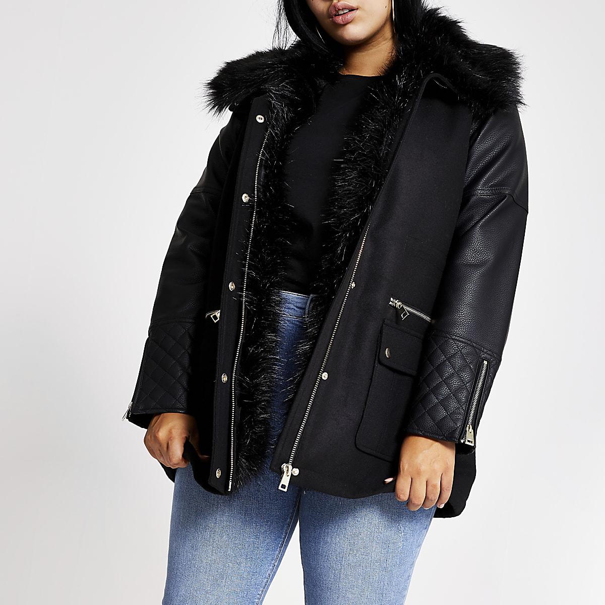 Plus black PU sleeve faux fur collar jacket