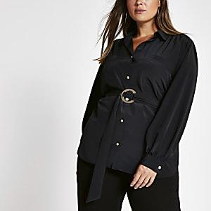 Plus Utility-Hemd mit langen Ärmeln und Gürtel in Schwarz