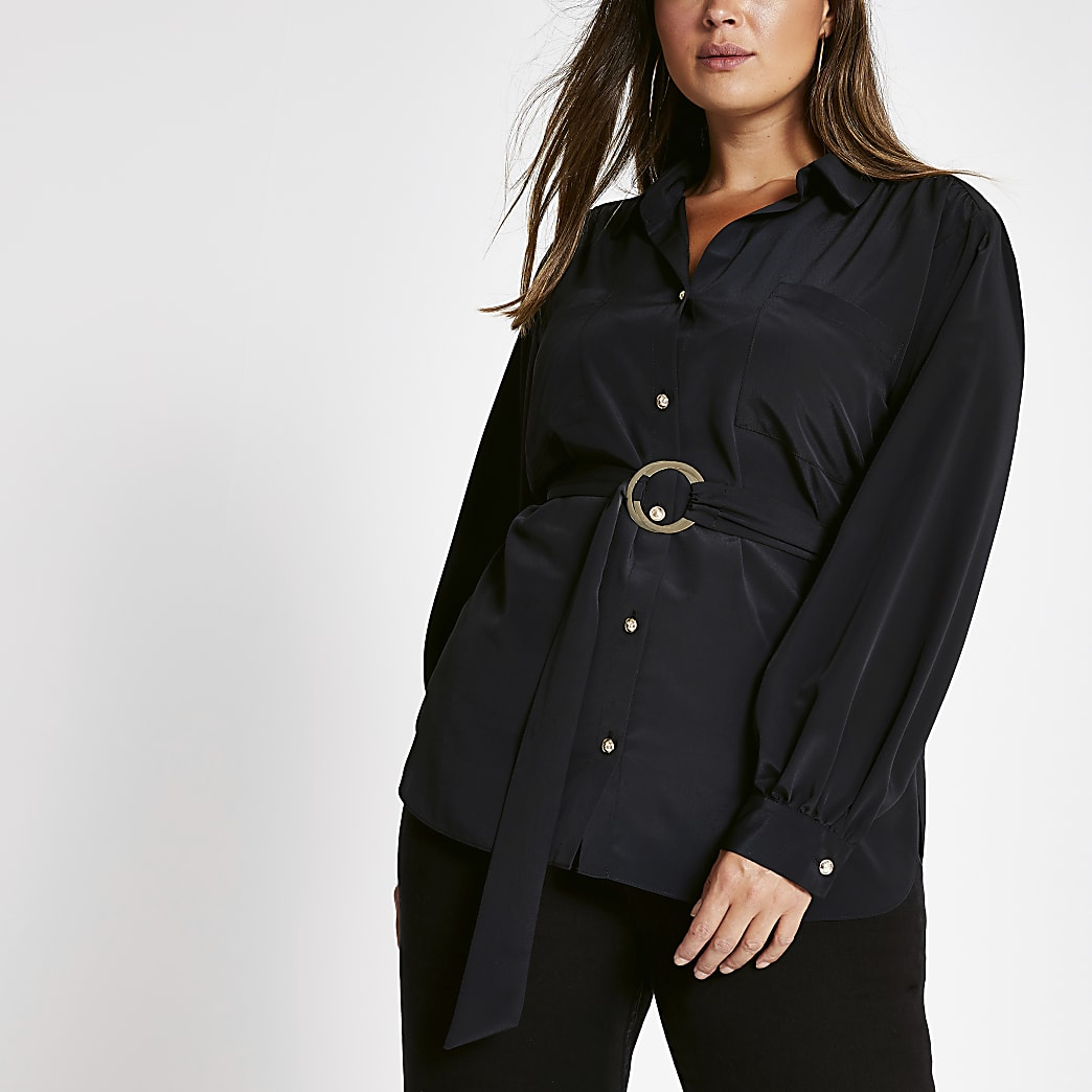 Plus black belted long sleeve utility shirt