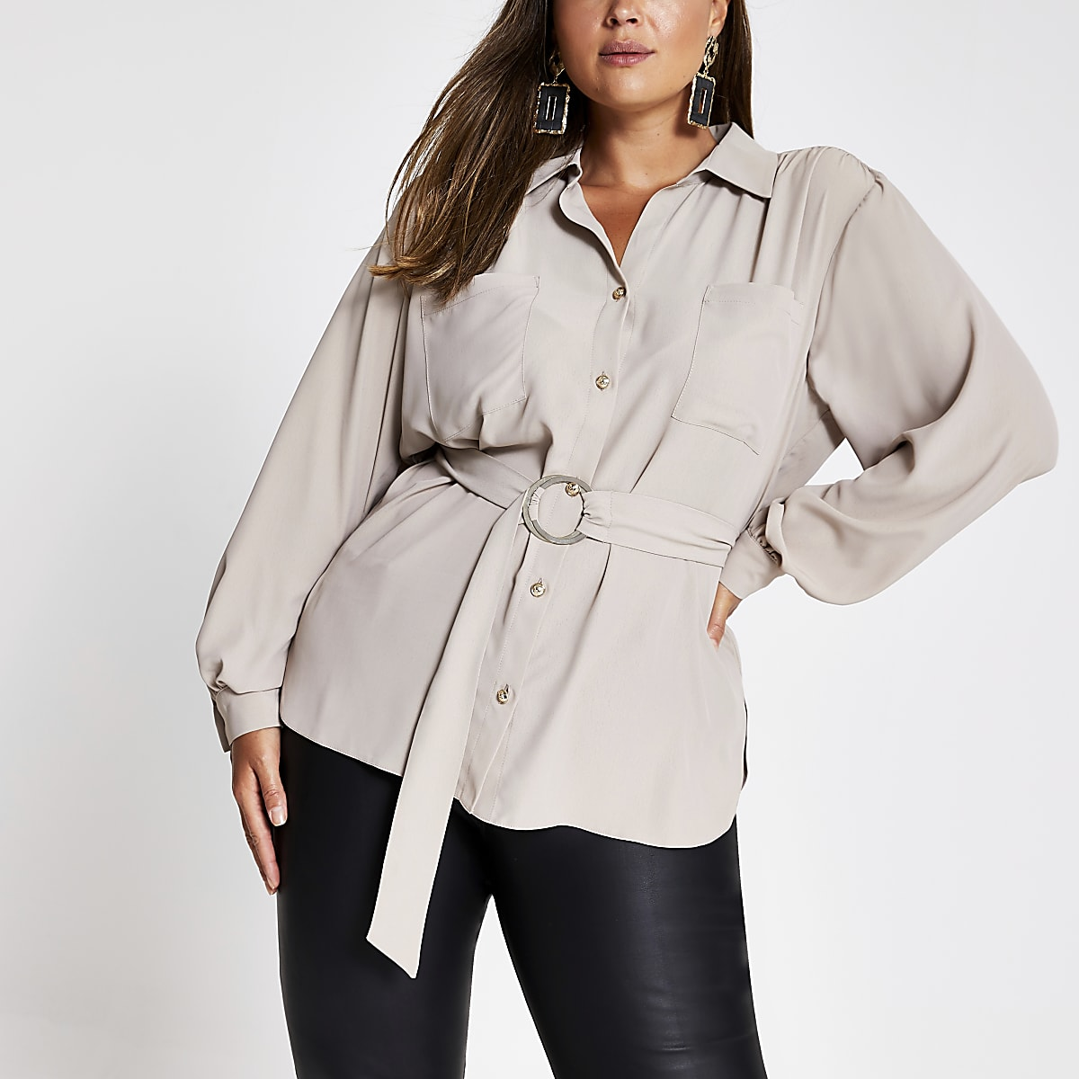 Plus beige long sleeve belted shirt