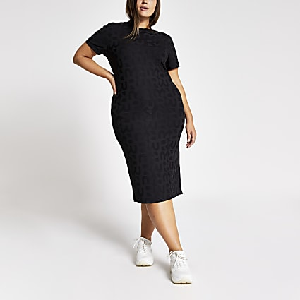 Plus black RI embossed bodycon midi dress