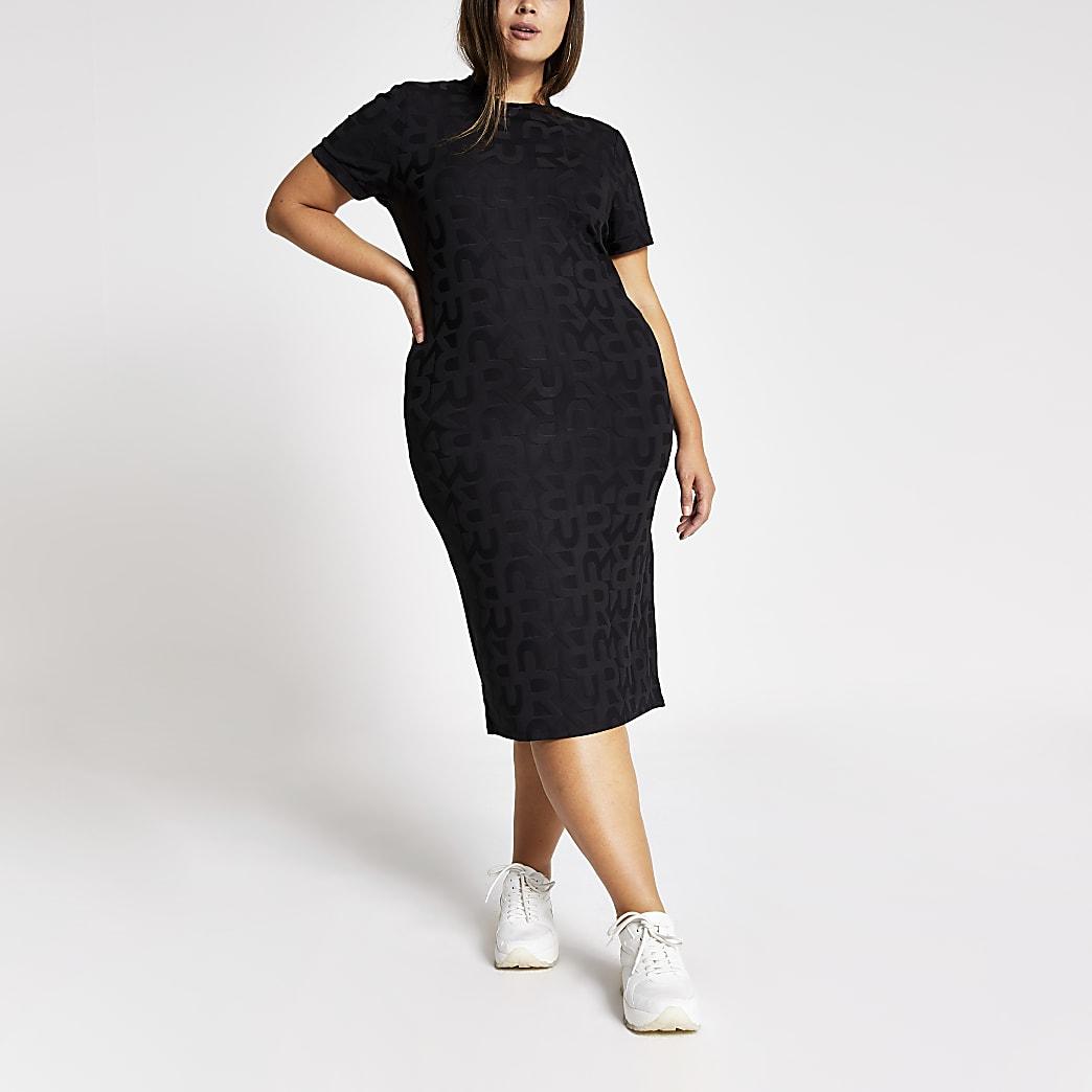RI Plus - Zwarte bodycon midi-jurk met reliëf
