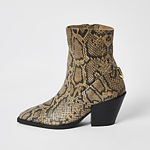 Beige leather snake printed ankle boots