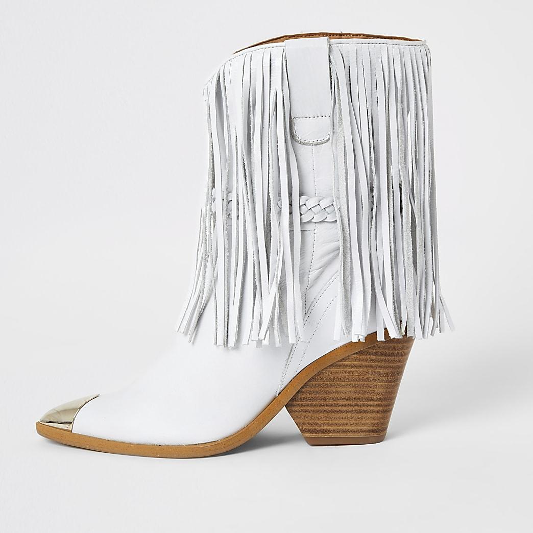 White leather fringe western boots