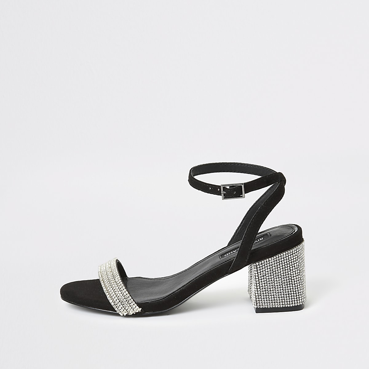 Black leather diamante block heeled sandals