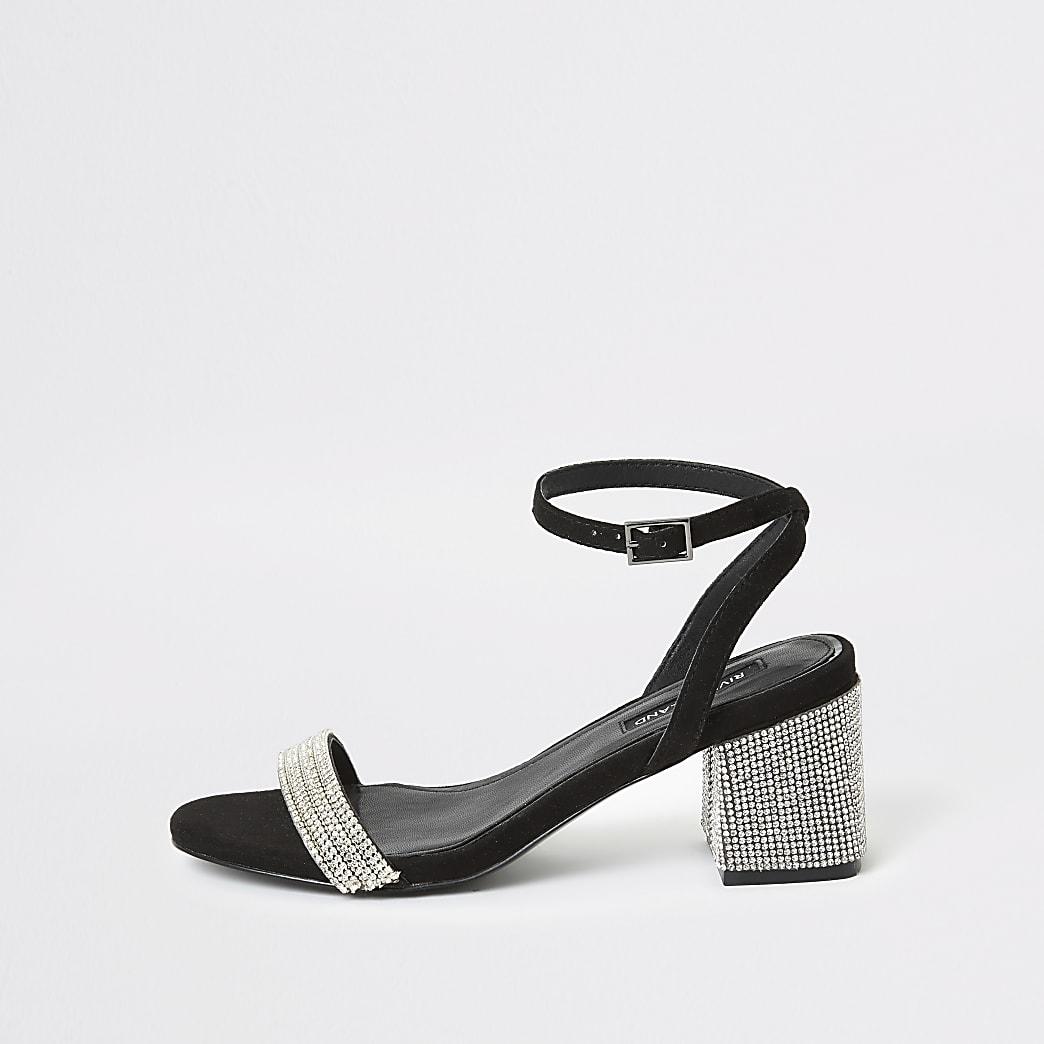 Sandales noires avec talon carréà strass