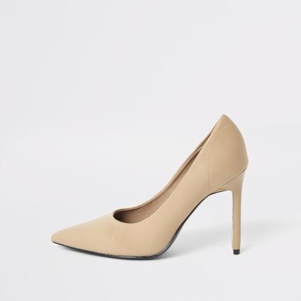 Beige skinny heel scuba court shoe