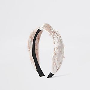 Serre-tête à nœud en velours rose orné de perles