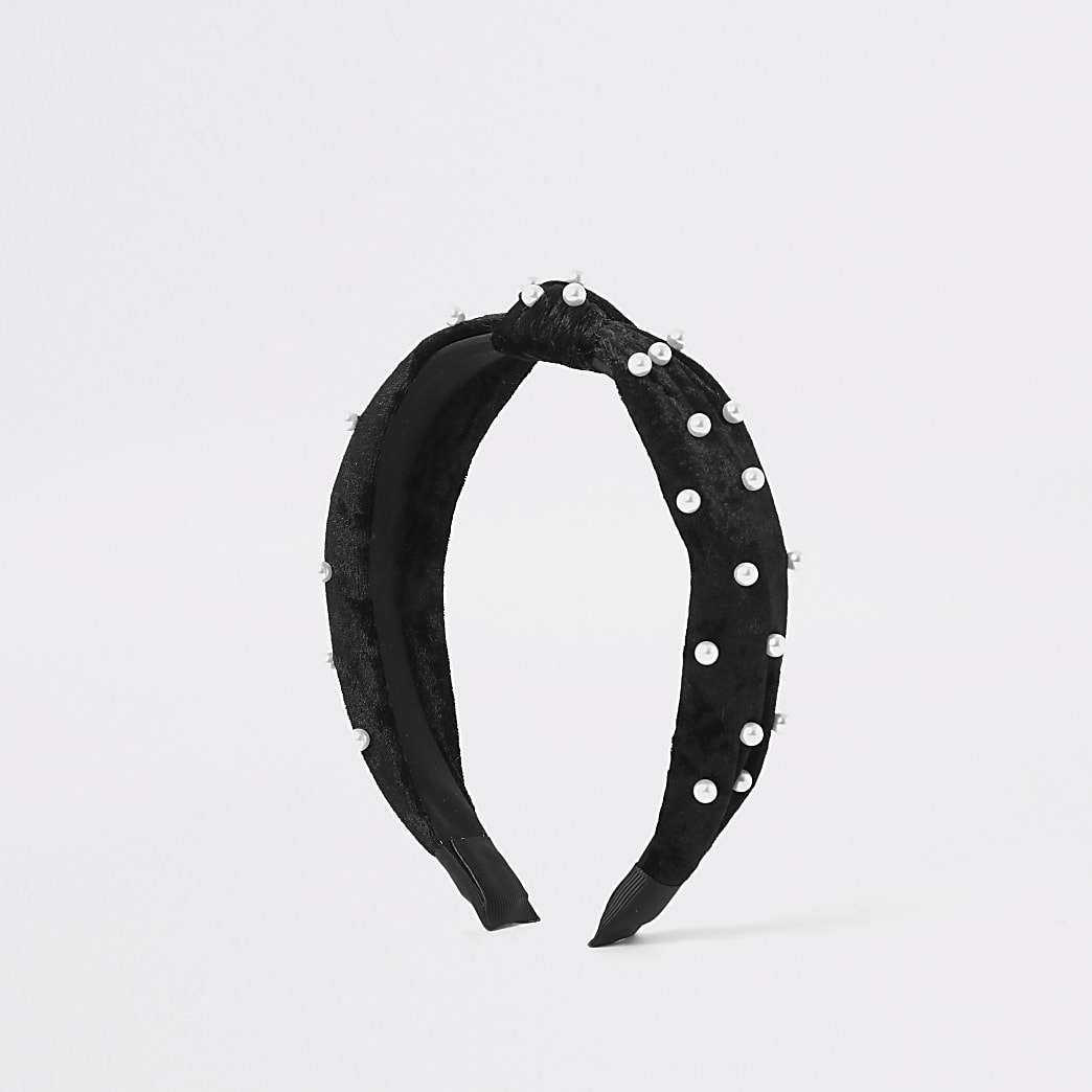 Black velvet pearl embellished knot headband