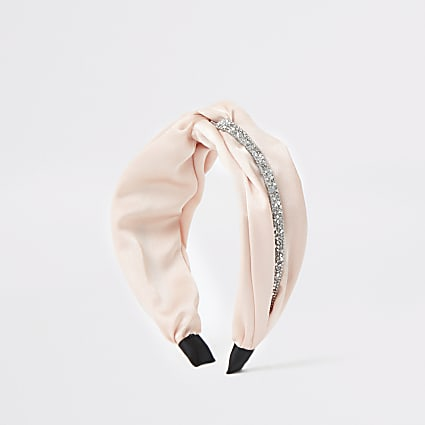 Pink embellished twist front headband
