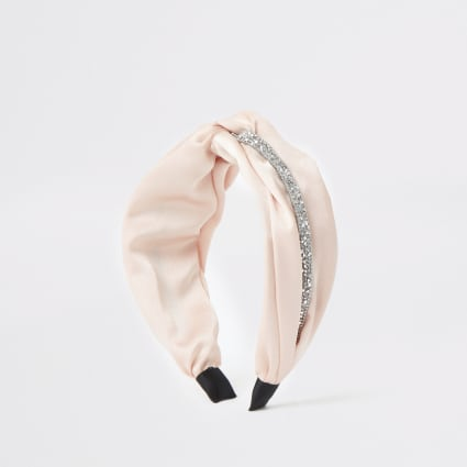 Pink embellished twist front headband