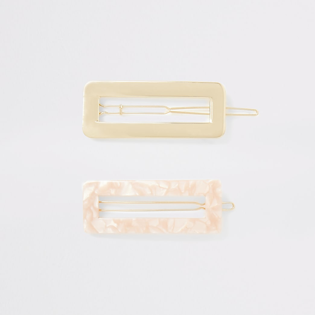 Multipack goudkleurige en roze haarspelden