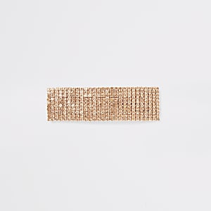 Roségoudkleurige haarspeld met diamantjes